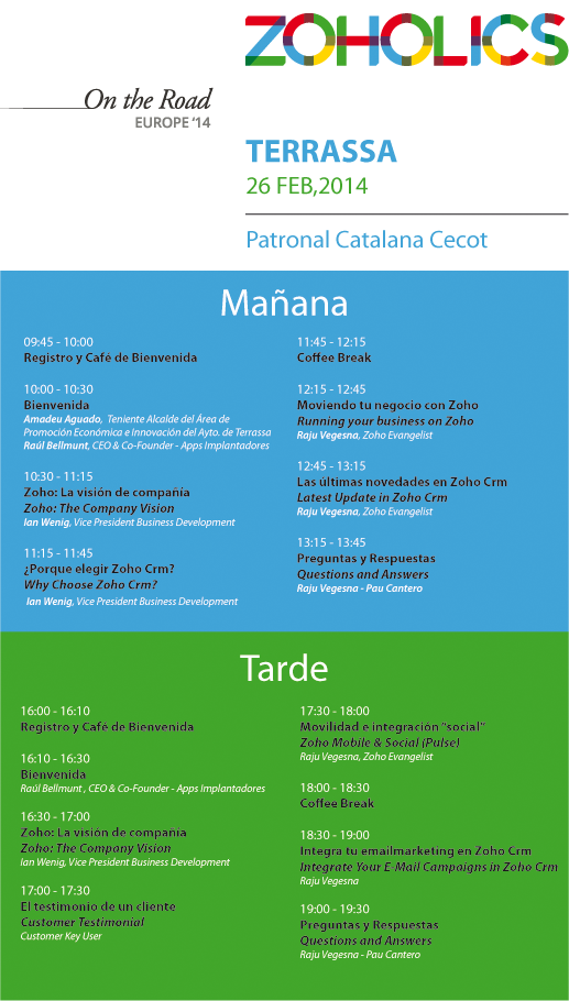 Agenda Zoholics 2014