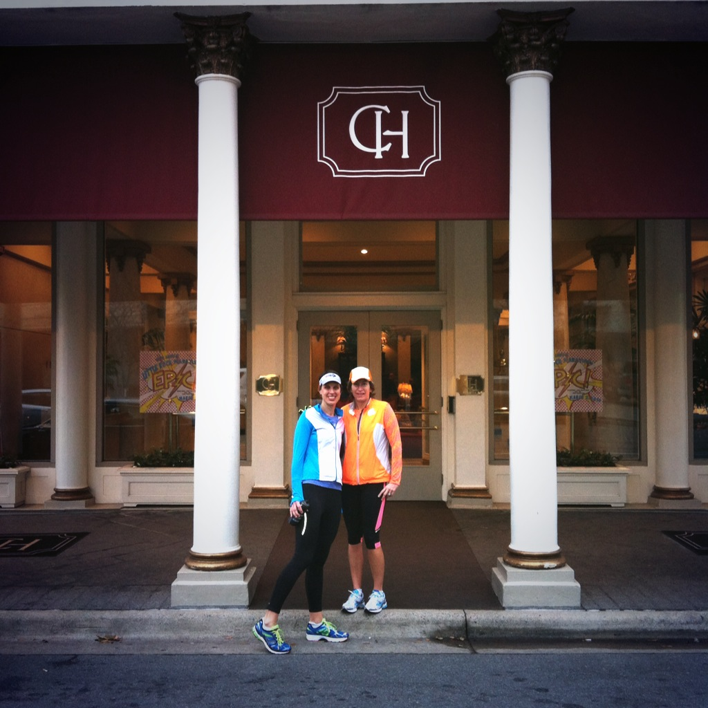 Dimity and Sarah in front of Capital Hotel