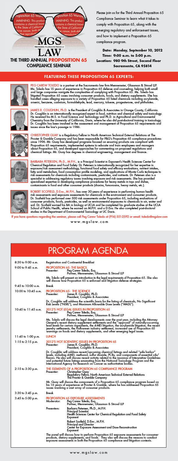 Prop 65 Seminar Bios and Program Agenda