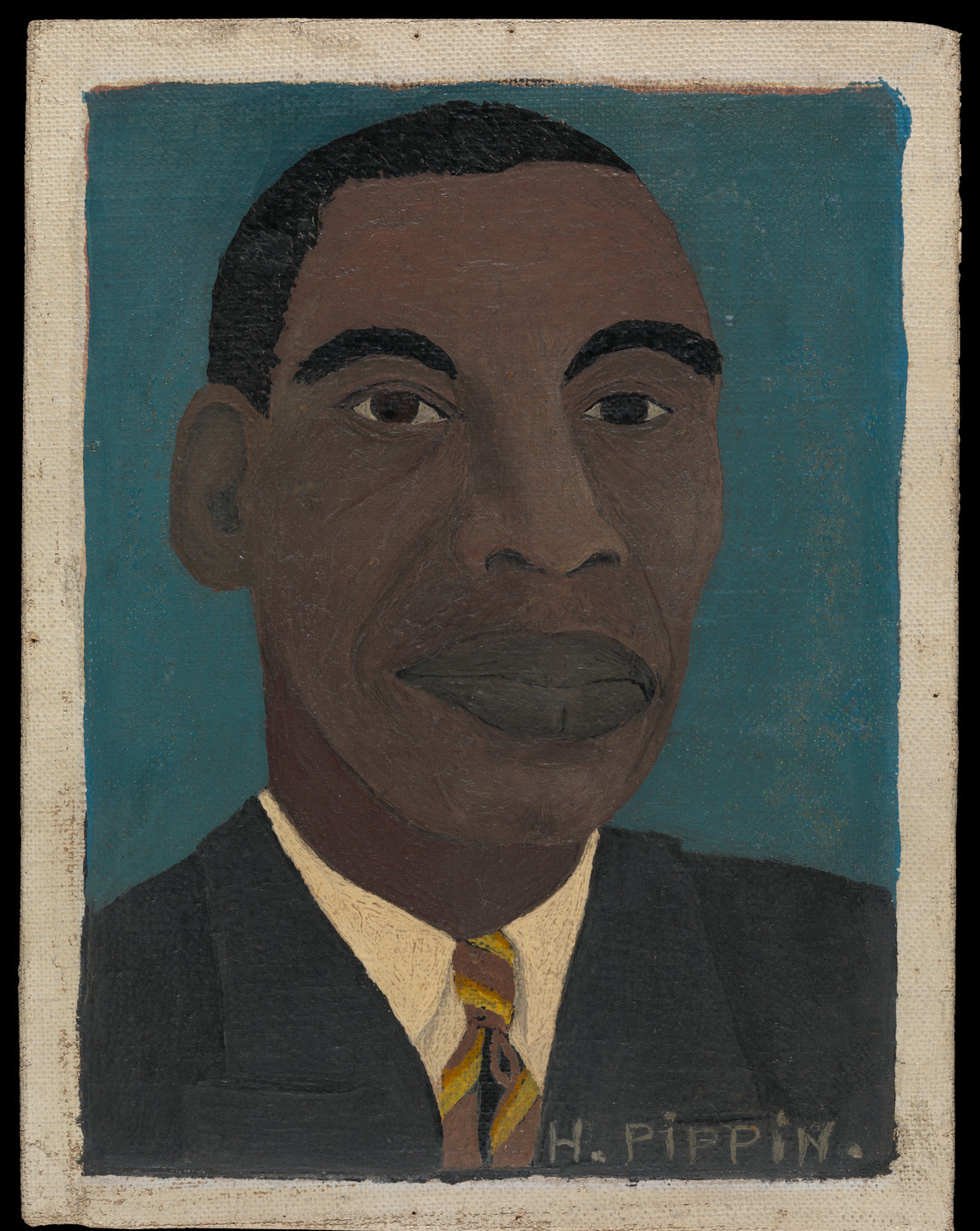 Horace Pippin, Self-Portrait II, 1944.  Oil on canvas, adhered to cardboard, 8 1/2 x 6 1/2 in.  Collection of the Metropolitan Museum of Art, bequest of Jane Kendall Gingrich, 1982.