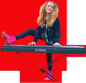 Girl playing keyboard wearing pink shoes