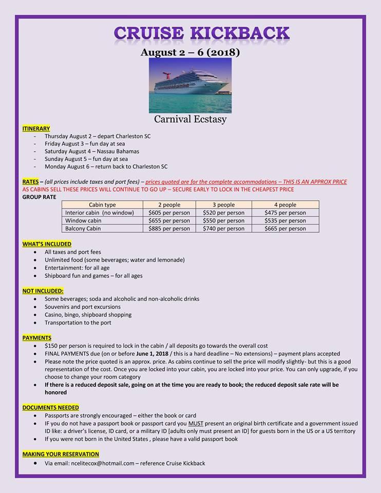 2018 Cruise Kickback Charleston Sc To Nassau Bahamas 2 Aug 2018
