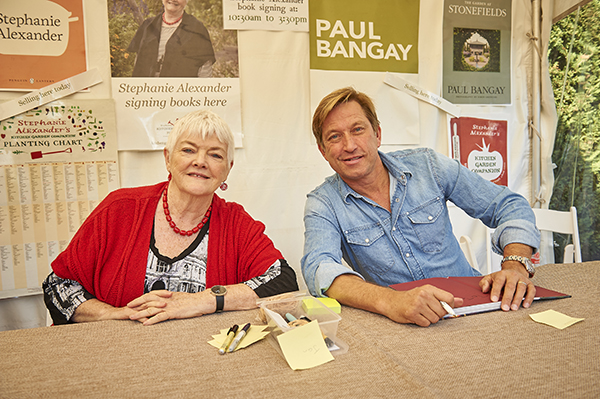 Stephanie Alexander and Paul Bangay signing book at Paul Bangay's Stonefields Open Garden 2018