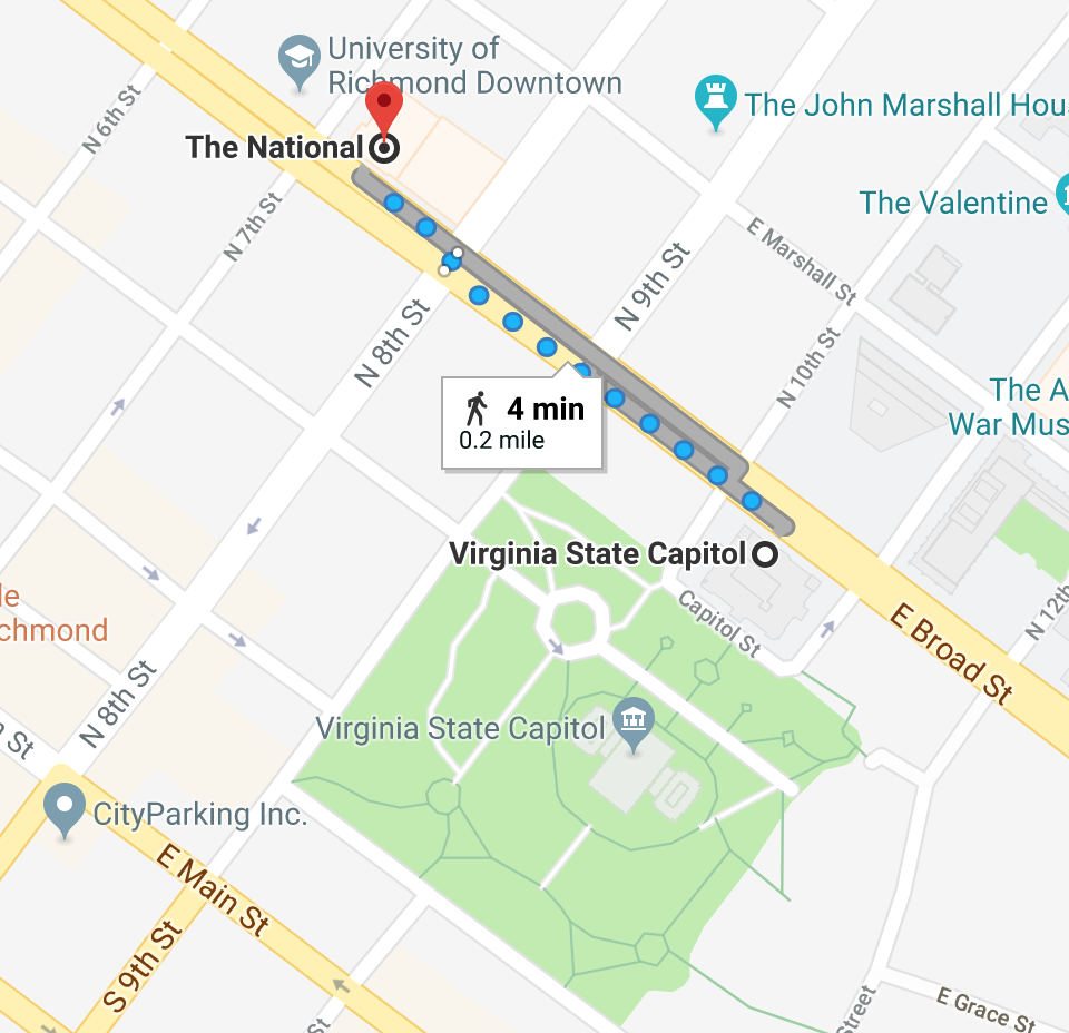 Map of walking route from Capitol grounds to National theater