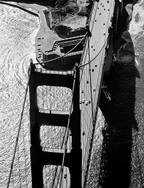 Golden Gate Bridge South Tower, San Francisco, Old Fort Point Aerial, 1959 © Fred Lyon, Courtesy Peter Fetterman Gallery