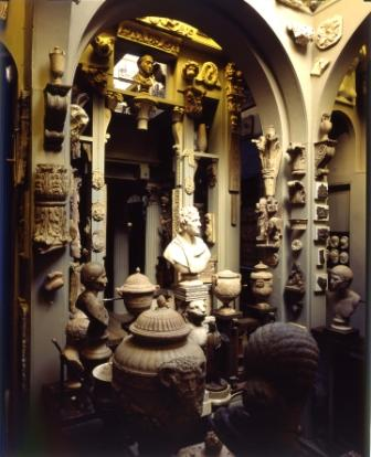 Photograph of the Dome Area showing plaster casts, architectural fragments and Soane's architecture