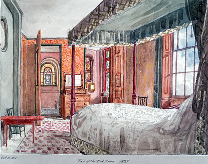 Watercolour sketch of Soane's Bed Chamber