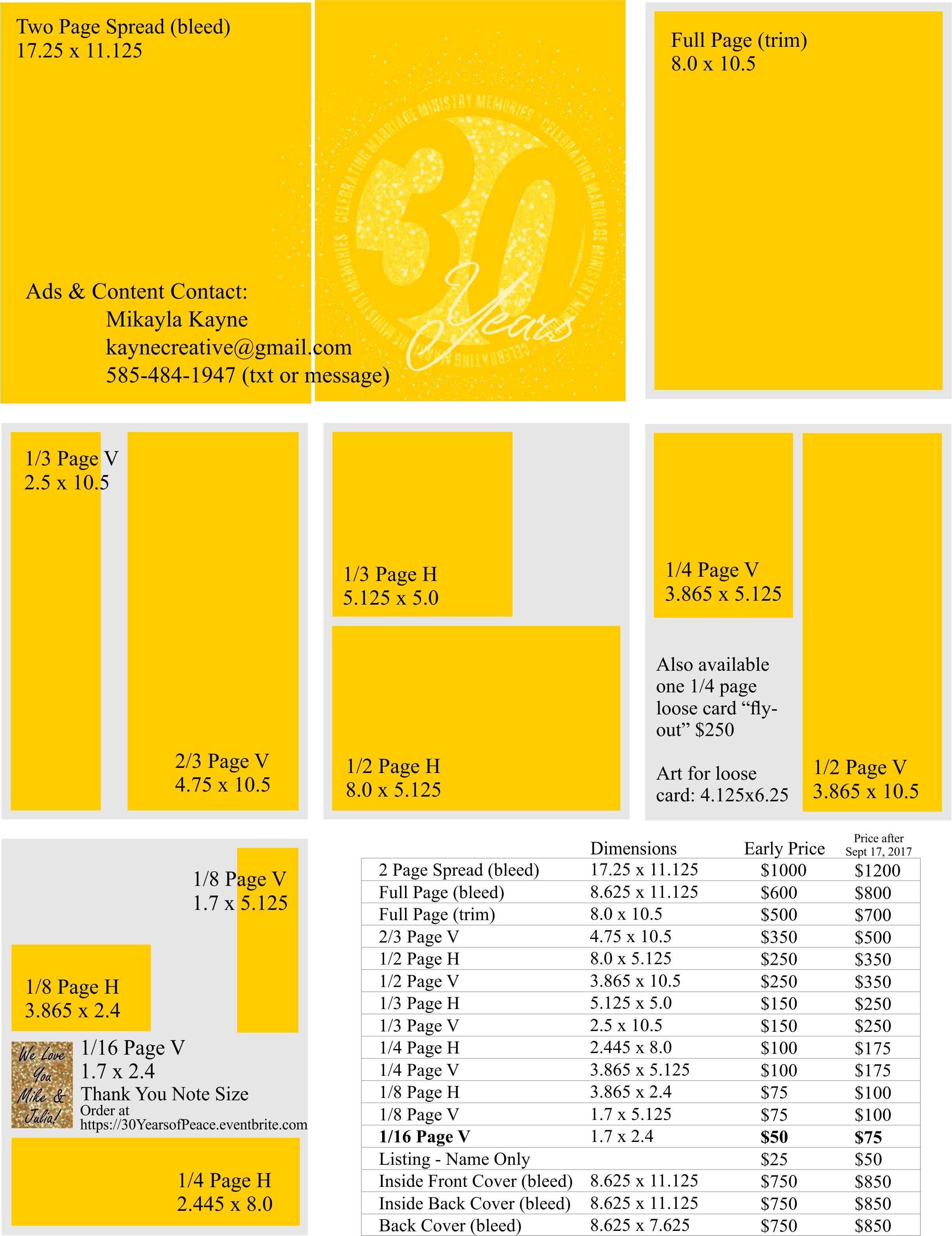 30 years mag sponsor rates and sizes