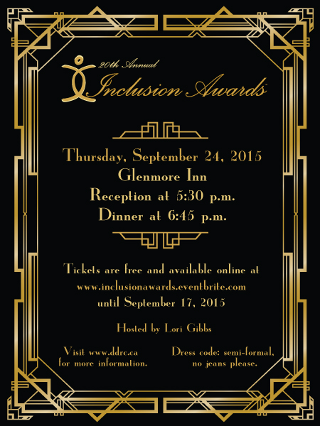 The invitation to the 20th annual Inclusion Awards