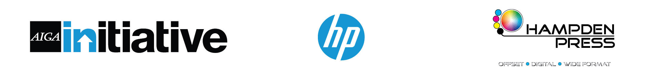 AIGA INitiative Logo, HP Logo, Hampden Press logo