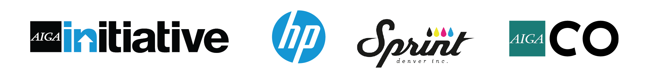 AIGA INiatives, HP, Sprint, and AIGA Colorado logos