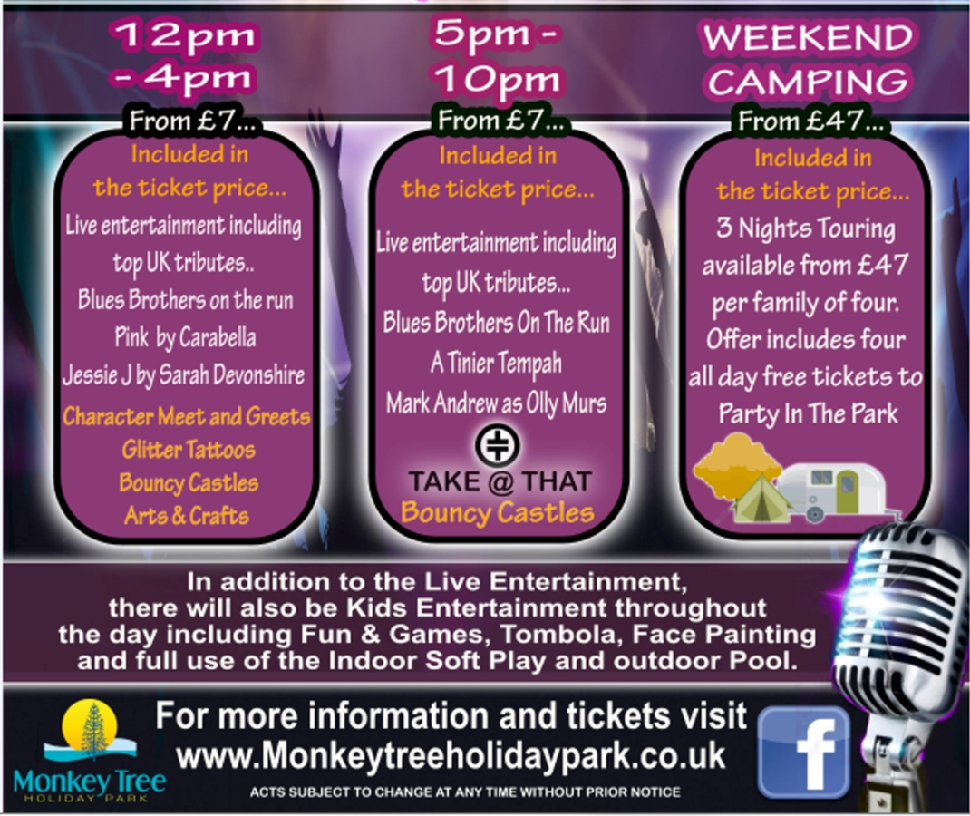 Monkey Tree Holiday Park Party in the Park acts 2018