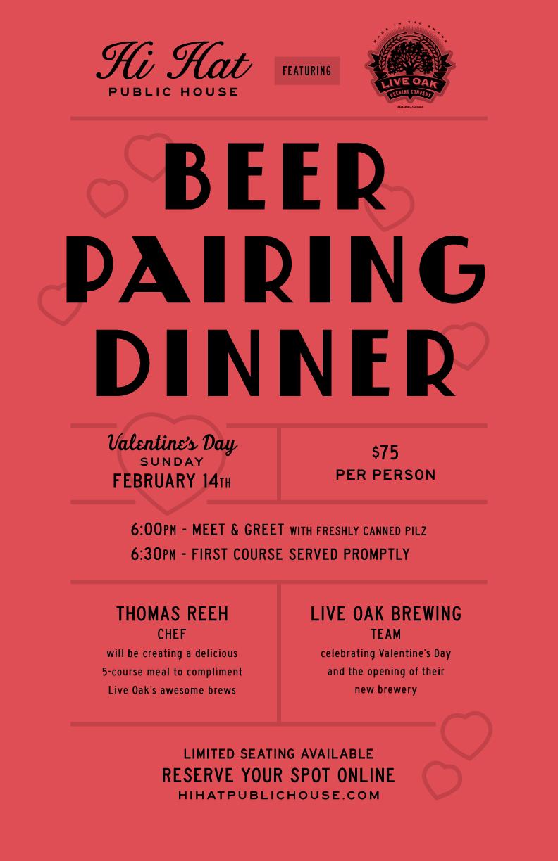Hi Hat Valentine's Day Beer Pairing Dinner