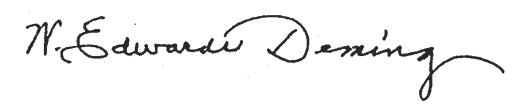 Dr. Deming's signature