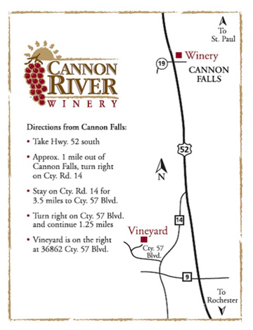 Map to Cannon River Winery Vineyard