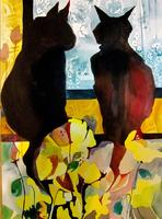 Felines & Florals  New Watermedia Paintings by Jane W. Ferguson
