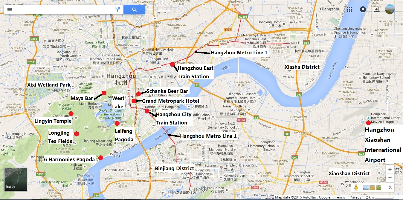 Map of Hangzhou showing key transport locations