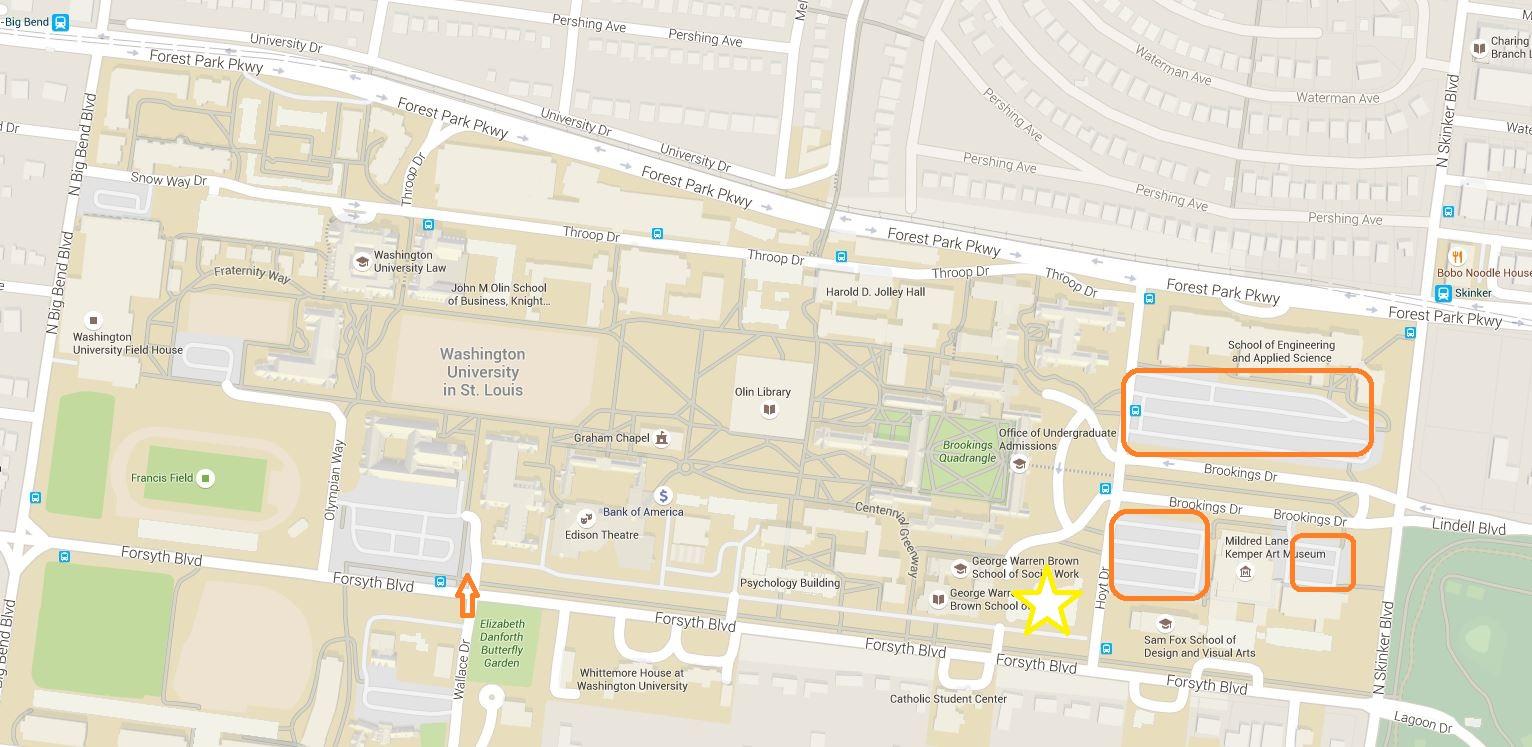 Hillman Hall parking map