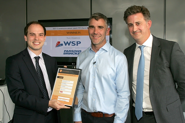 Tom Hawkins, WSP Parsons Brinckerhoff, Young Communicator; Ivan Massow, guest speaker and Jeremy Thompson, CEO Gorkana