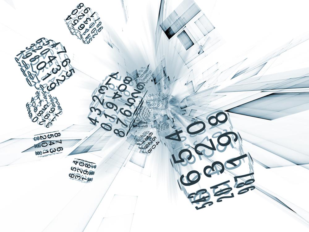 cubes of numbers splashing