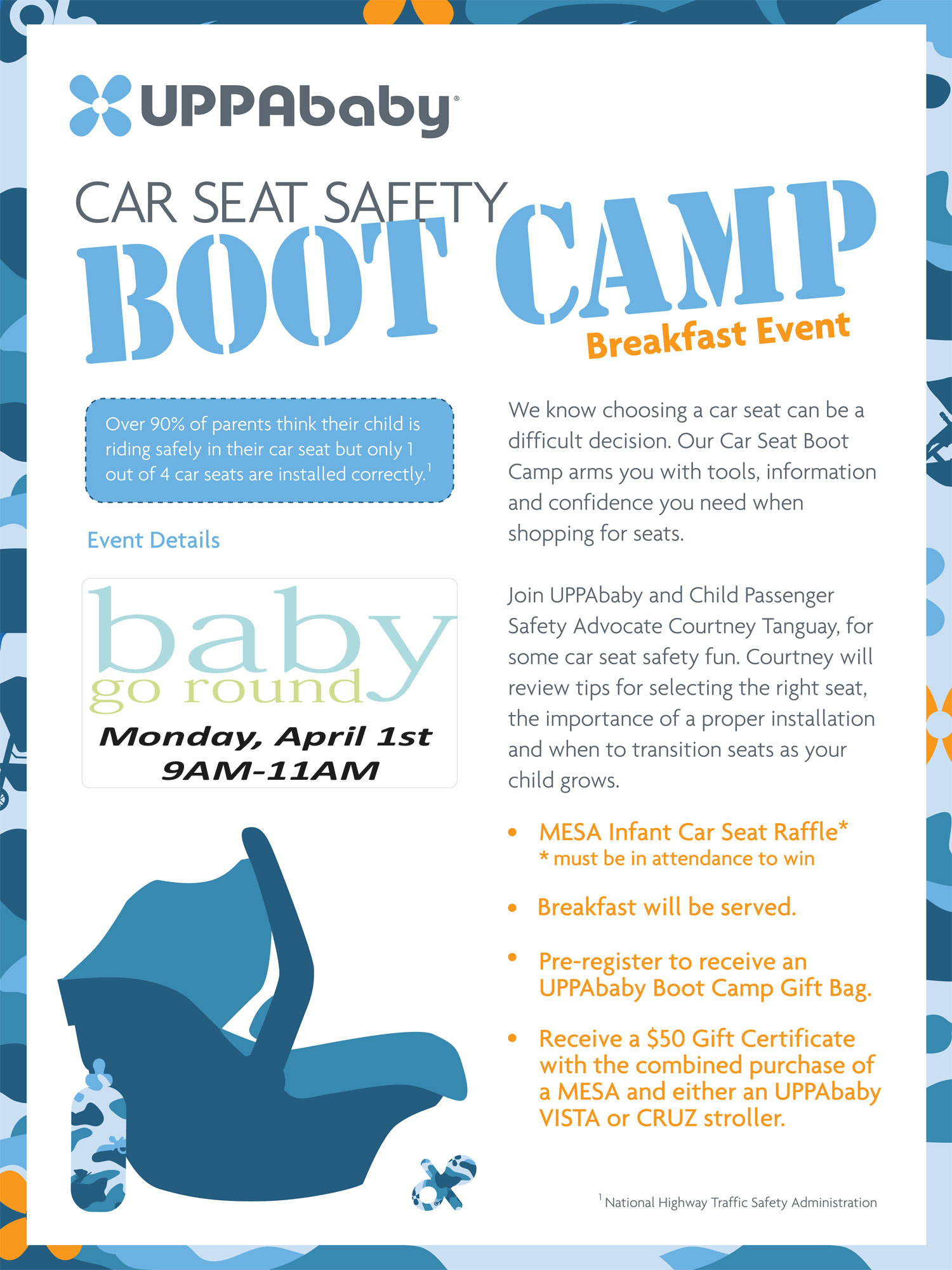 UPPAbaby Car Seat Bootcamp at Baby Go Round Monday April 1st!  Meet the Mesa and a Car Seat Safety Expert, win a Mesa, free gift bag to those who pre-register.  Breakfast will be served.