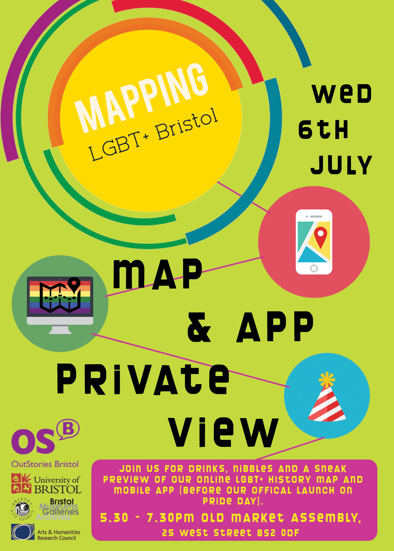 Rainbow/Pride coloured cirlces and the words 'mapping LGBT Bristol' superimposed on green background. Three icons show a computer, party hat and mobile deivce.