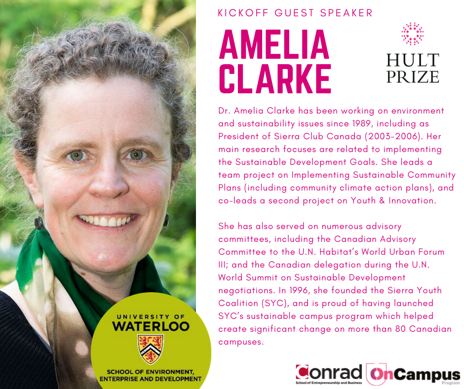 Dr. Amelia Clarke has been working on environment and sustainability issues since 1989, including as President of Sierra Club Canada (2003-2006). Her main research focuses are related to implementing the Sustainable Development Goals. She leads a team project on Implementing Sustainable Community Plans (including community climate action plans), and co-leads a second project on Youth & Innovation.  She has also served on numerous advisory committees, including the Canadian Advisory Committee to the U.N. Habitat's World Urban Forum III; and the Canadian delegation during the U.N. World Summit on Sustainable Development negotiations. In 1996, she founded the Sierra Youth Coalition (SYC), and is proud of having launched SYC's sustainable campus program which helped create significant change on more than 80 Canadian campuses.