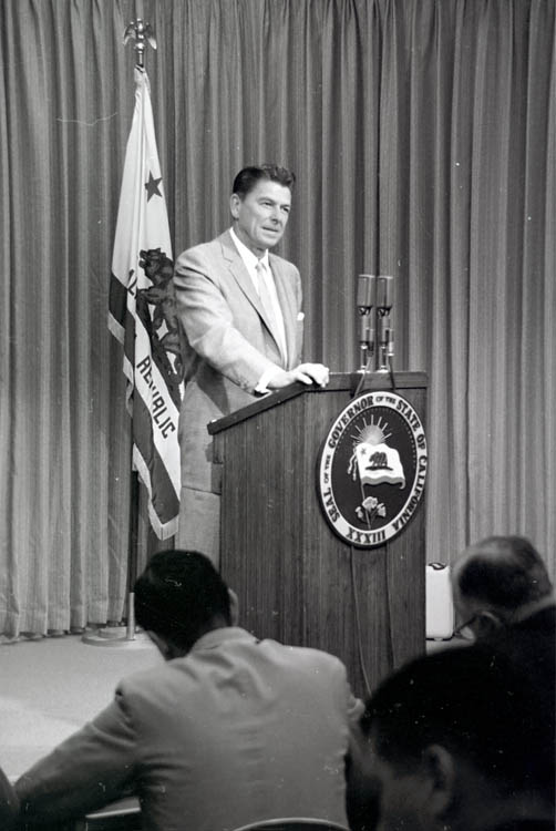 Governor Ronald Reagan at news conference