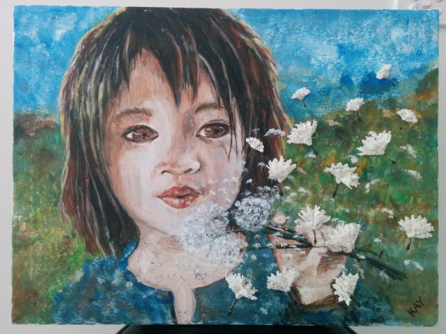 Acryclic painting on canvas with crochet doilies; young girl blowing on a dandelion