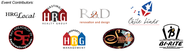Event Contributors: Hastings Realty Group (HRG), Bay Area Drop In, HRG Property Managment, Renovation and Design (R&D), Steelhead Brewery, Chile Lindo, and Bi-Rite Market