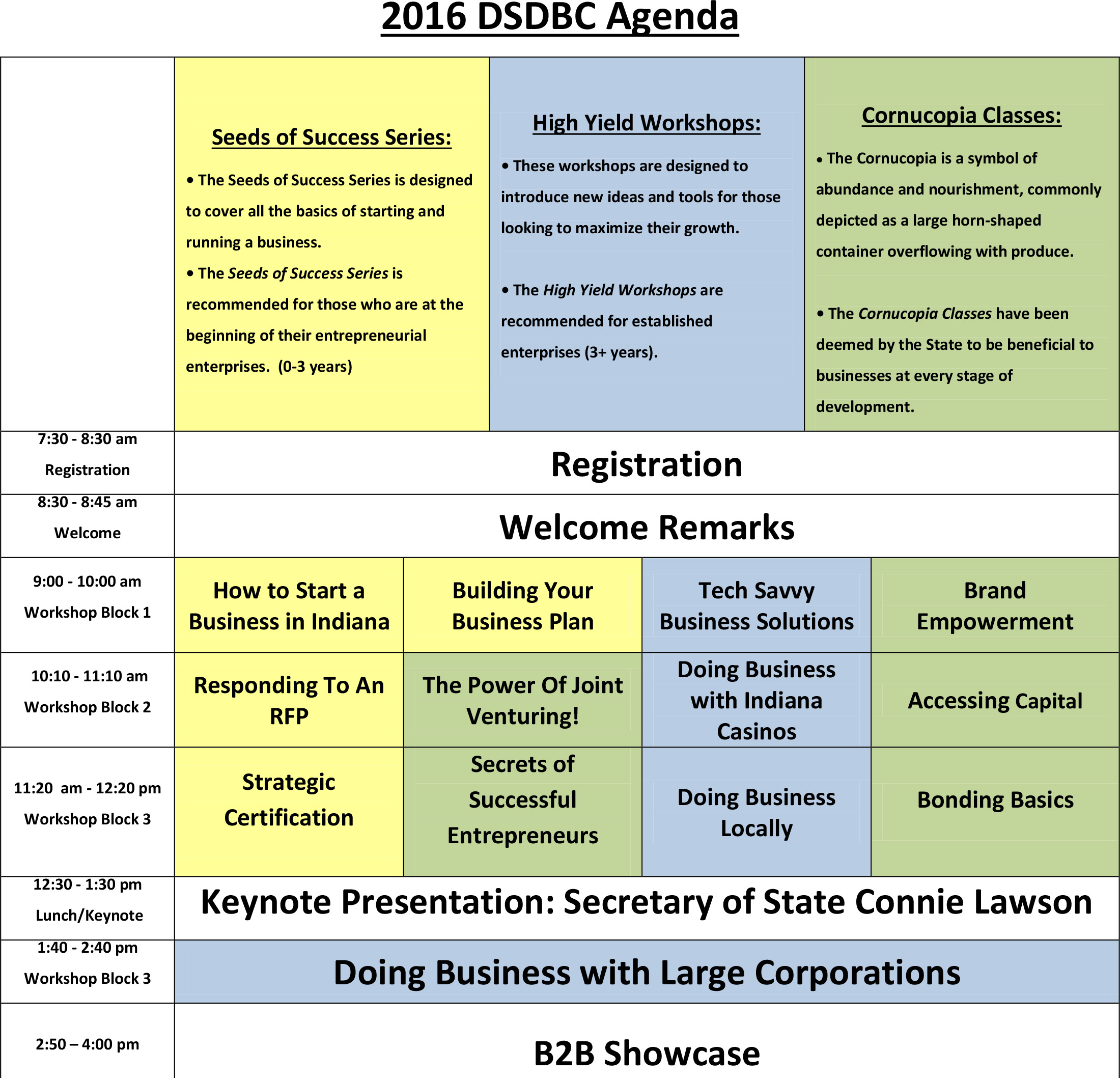 DSDBC Agenda