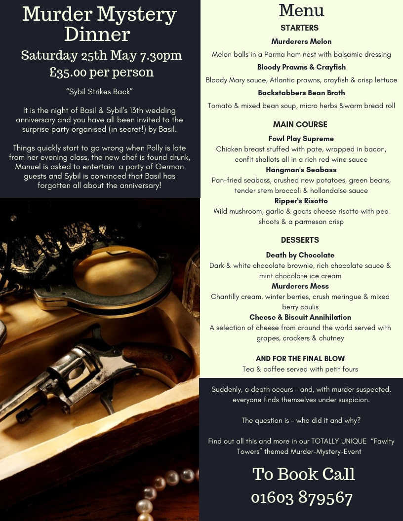 murder mystery menu 25th may