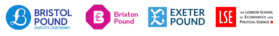The logos of the Bristol Pound, Brixton Pound, Exeter Pound and the LSE