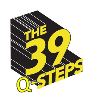 '39 steps' logo in yellow with black shadow, with the letter 'Q' added before 'steps'