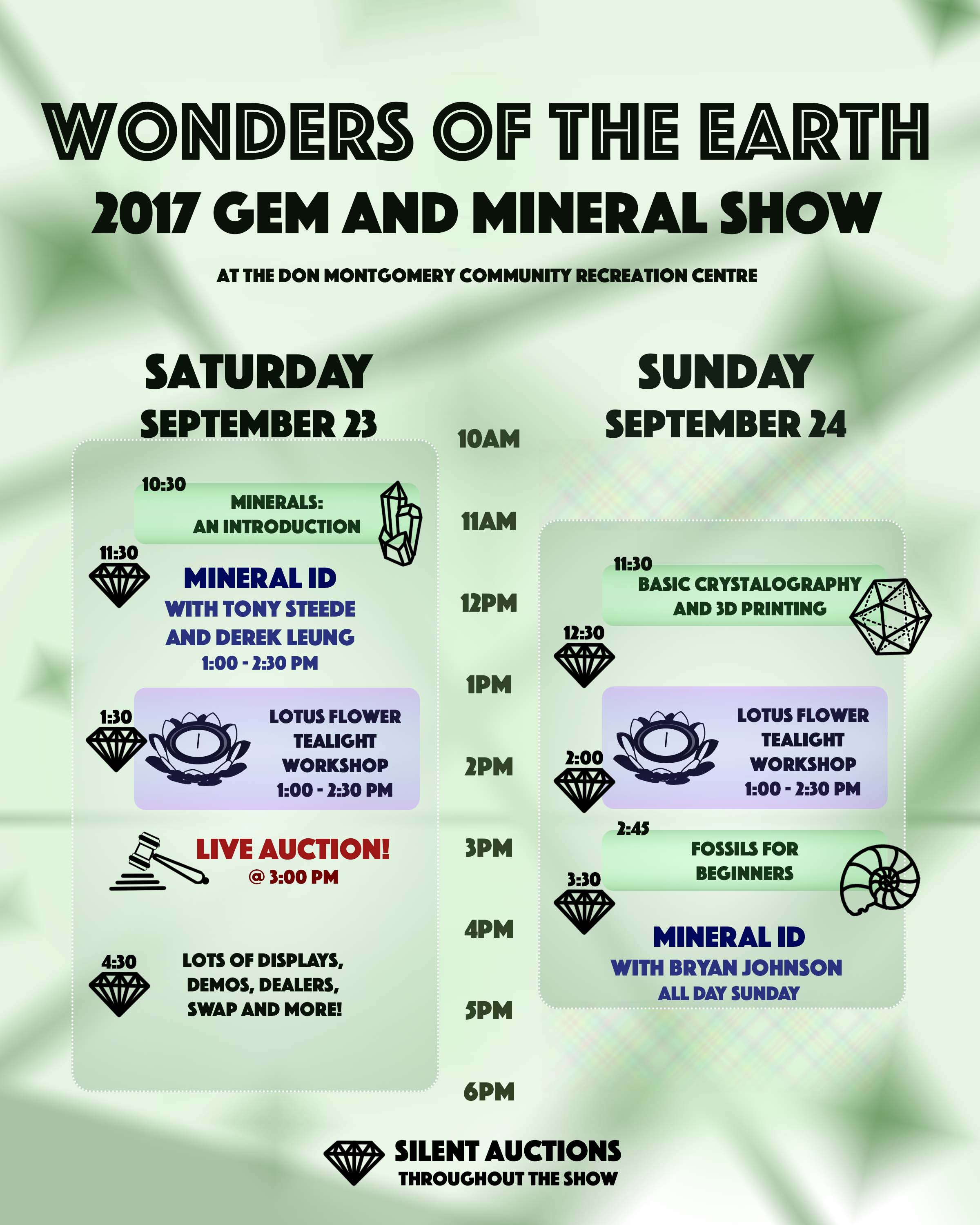 Wonders of the Earth Gem and Mineral Show Activity Schedule