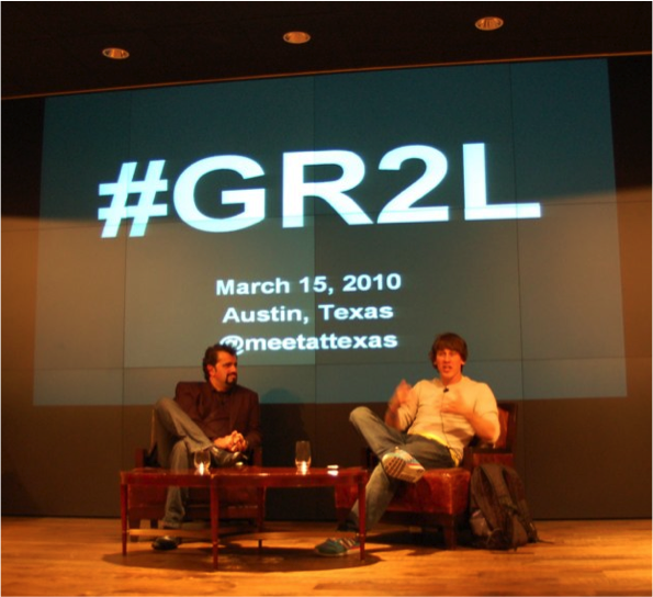 Simon Salt & Foursquare's Dennis Crowley at #GR2L, 2010