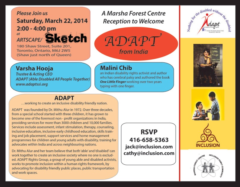 Flyer for Adapt India event in Toronto, March 22nd.