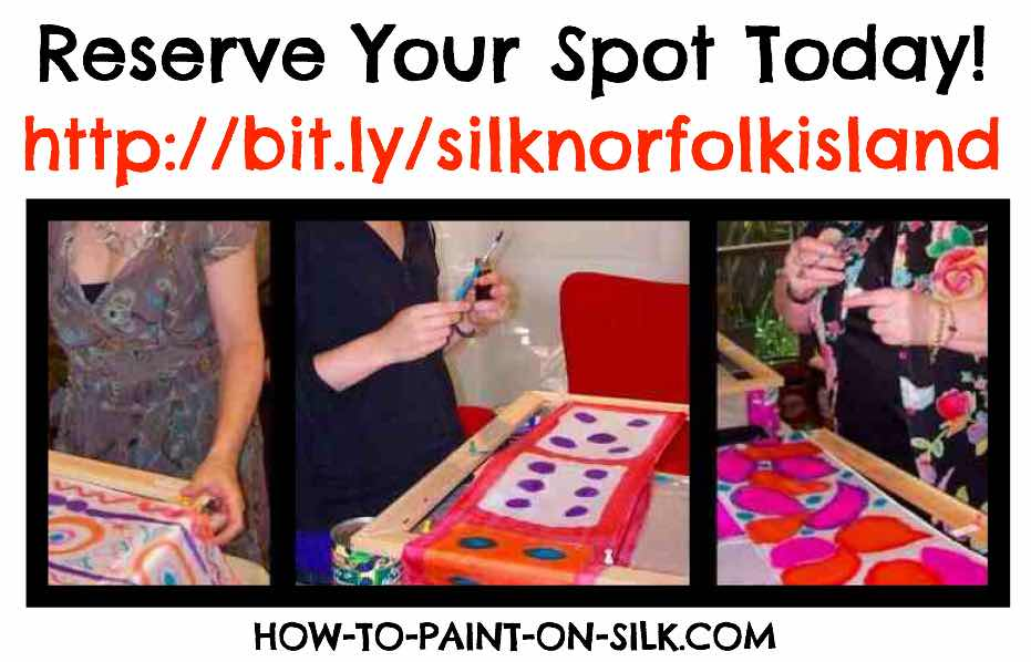 3 Silk Students with Teena Hughes learning how to paint on Silk