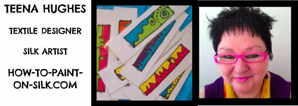 Teena Hughes wilk handpainted silk bookmarks