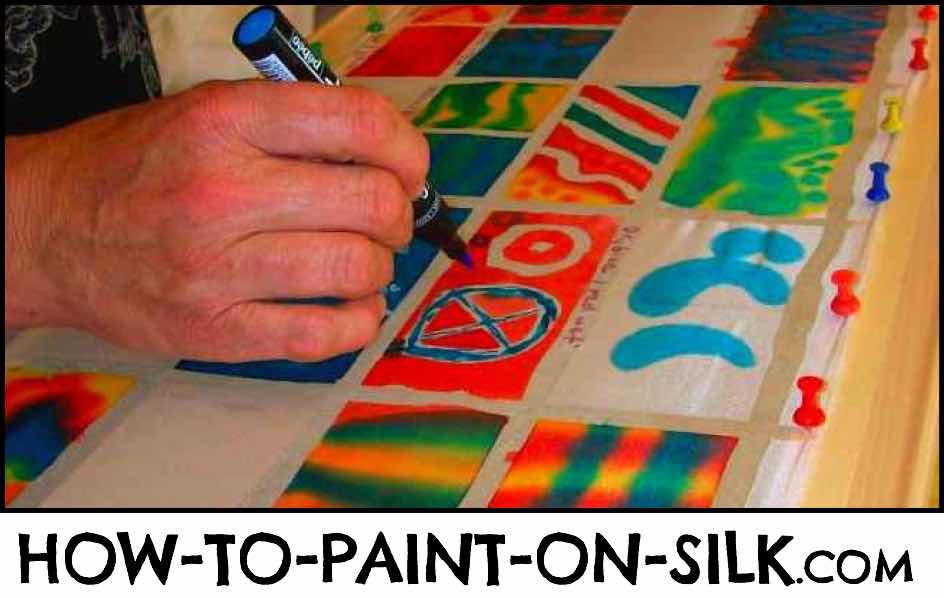Silk Student painting on silk in Paris with Teena Hughes