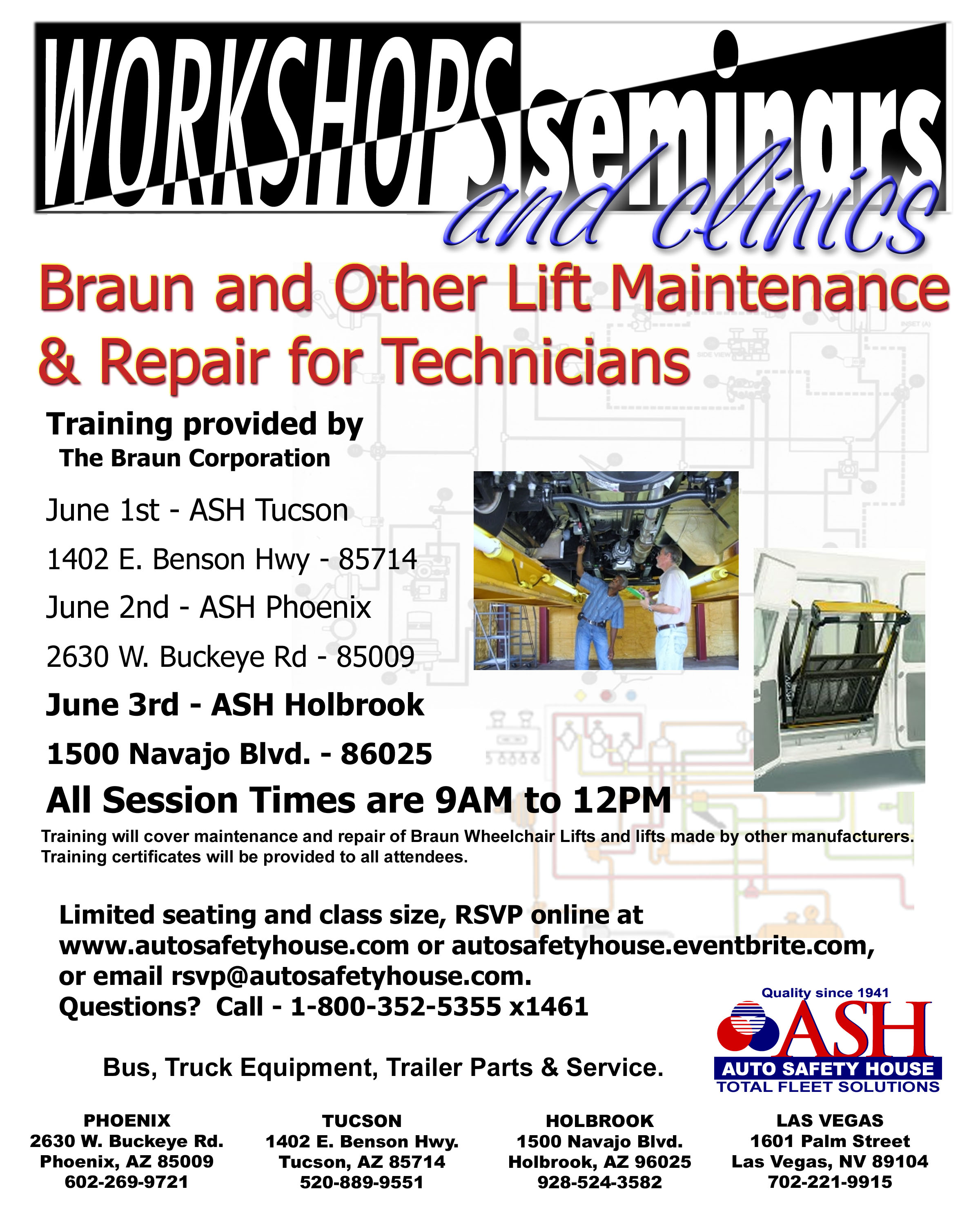 Braun and Other Lift Maintenance and Repair Workshop Flyer