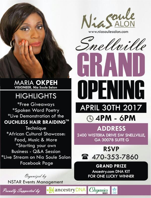 Nia Soule Salon Snellville Grand Opening Tickets Sun Apr 30