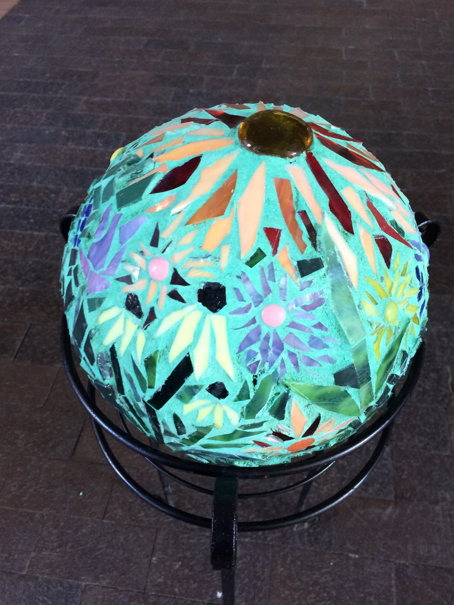 Mosaic gazing ball by Karen Earnhardt Charlotte, NC