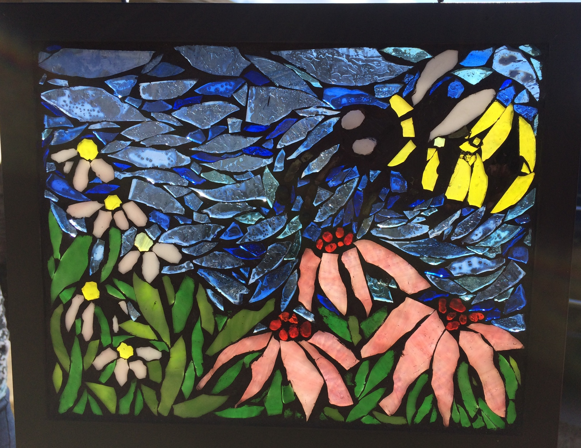 Stained glass mosaic suncatcher by Flower Floozy Designs Charlotte NC