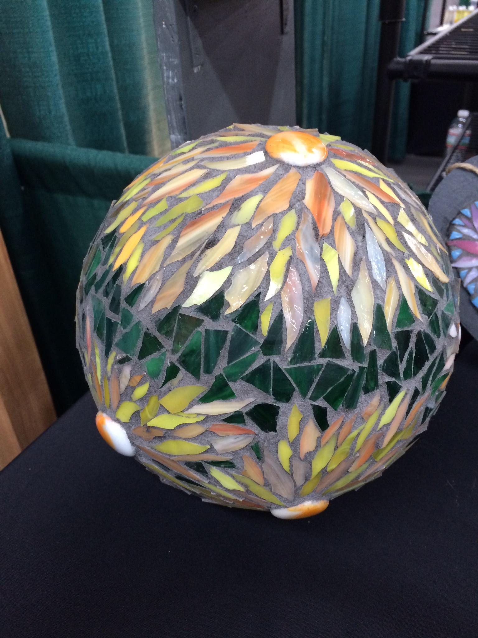 Stained glass mosaic gazing ball