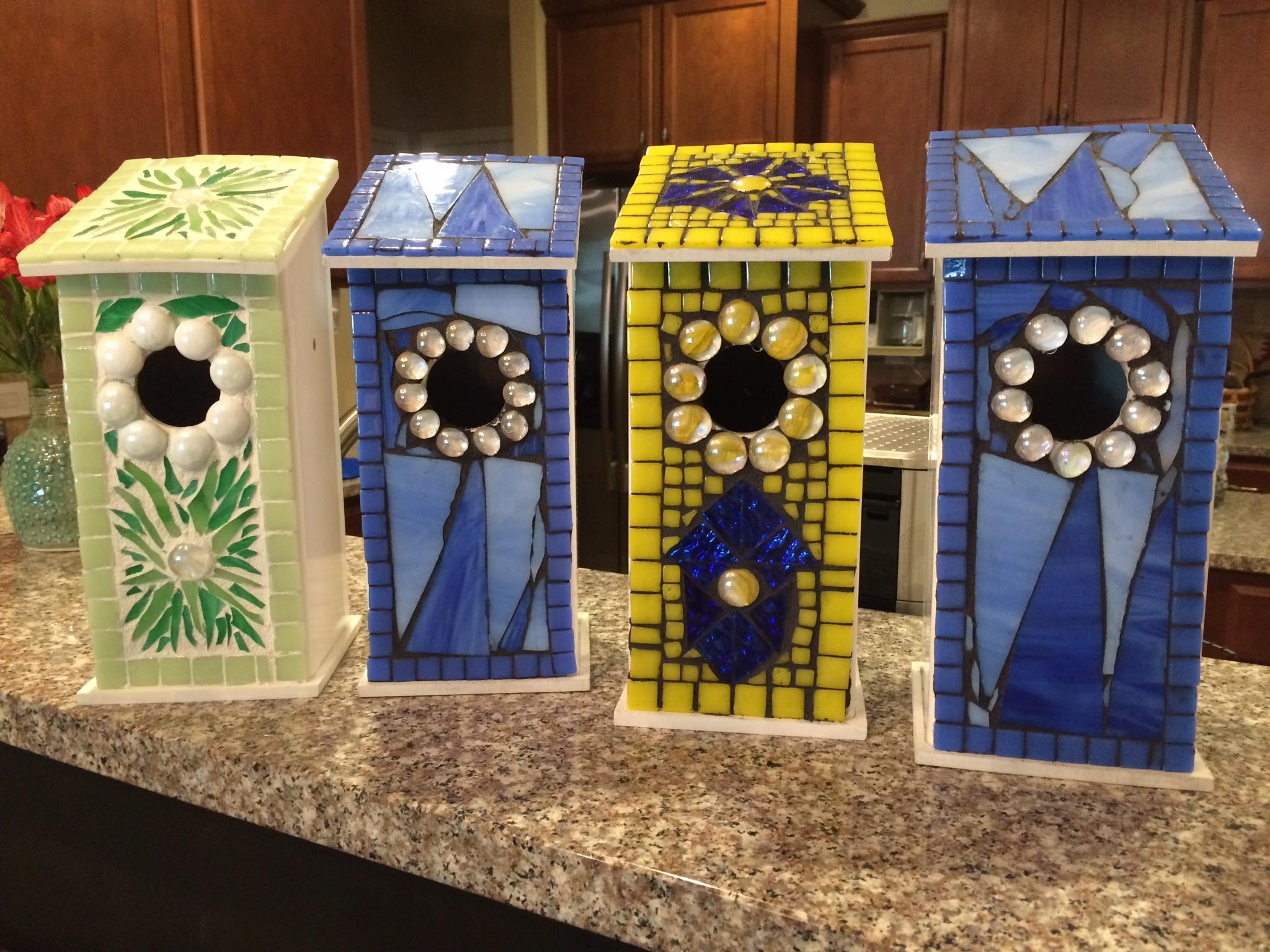 Mosaic bluebird house Charlotte NC Flower floozy designs