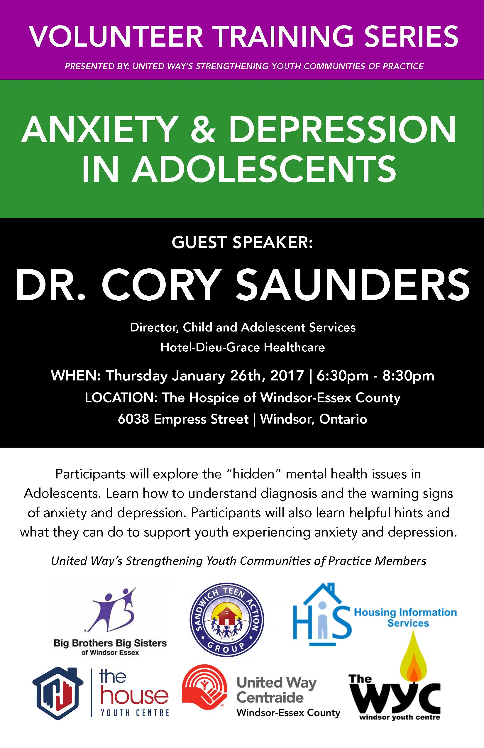 Volunteer Training Series-Anxiety and Depression in Adolescents