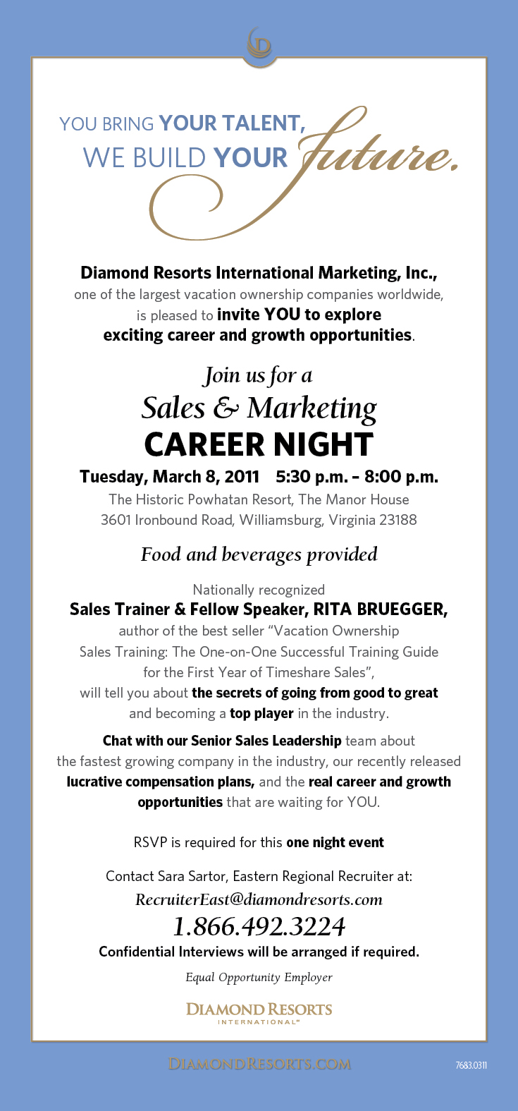 DRI Sales And Marketing Career Night Invitation-Tues March 8