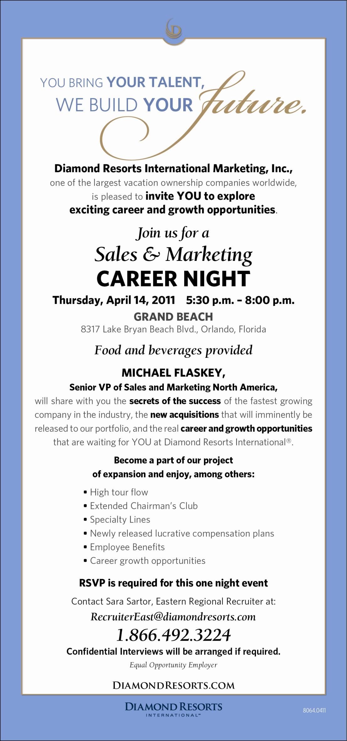 Career Night-Orlando April 14th