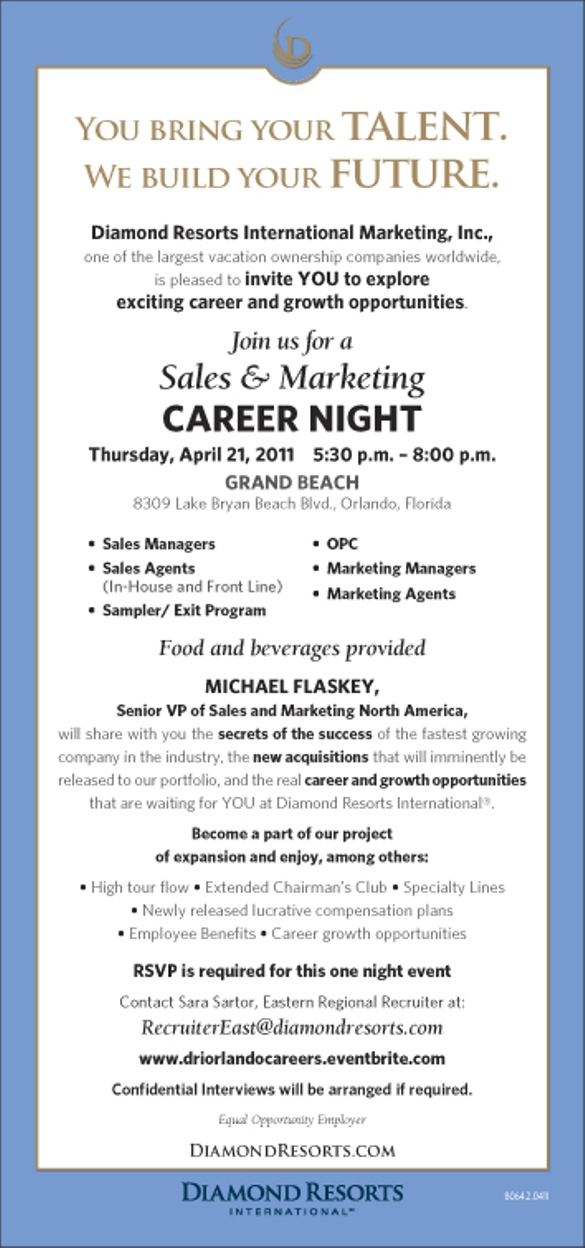 Sales And Marketing Career Night- April 21st 2011